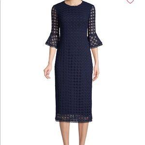 Shoshanna navy midi dress